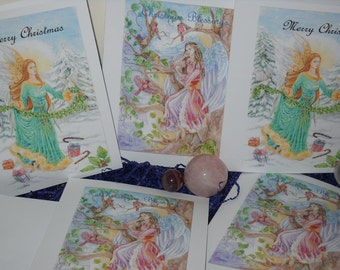 Fantasy Angel Christmas Greeting Cards pack of 5 cards assortment, Folded 5x7 inch greeting cards