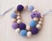 Nursing necklace / Teething necklace - Light blue, Lilac, Lavender, Purple