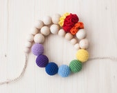 Rainbow nursing necklace / Teething necklace / Crochet nursing necklace with flowers - Multicolor, Colorful, Bright