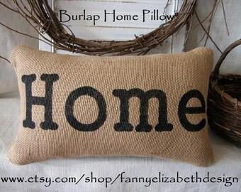 Burlap Home Pillow FREE SHIPPING - Burlap Pillow- Decorative Pillows- Burlap Pillows- Housewarming Gifts-Pillows- Gift- Wedding Gift-
