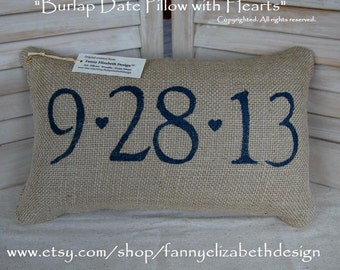 Burlap Date Pillow-Pillow, Not Cover-Engagement Gift-Date Pillow- Rustic Wedding- Wedding Gift- Anniversary- Burlap Pillows- Valentine's Day
