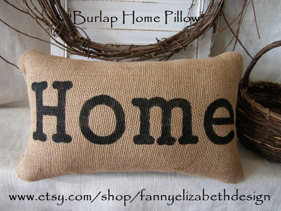 Burlap Throw Pillows Etsy : Items similar to Burlap Home Pillow FREE SHIPPING - Burlap Pillow- Decorative Pillows- Burlap ...