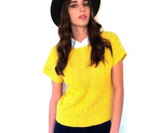 Festival Shirt Boho Top  Bright Yellow Short-Sleeved Knit Top Size Medium Free Domestic Shipping