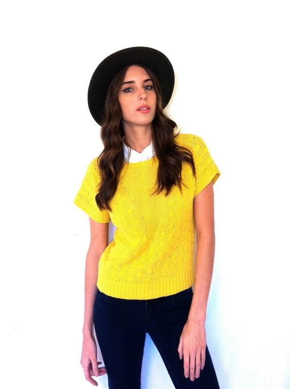 SALE Festival Shirt Boho Top  Bright Yellow Short-Sleeved Knit Top Size Medium Free Domestic Shipping