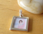 Personalized, square shape 14mm photo frame, 925 sterling silver photo frame charm, free shipping