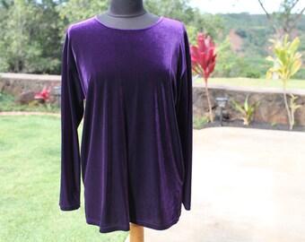 Women's Vintage Purple Velvet Blouse