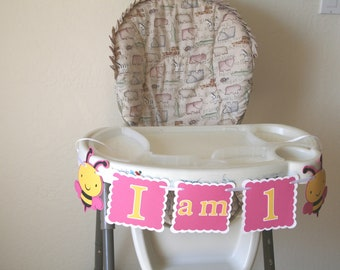 Bumble Bee 1st  Birthday Highchair Banner, Party Sign, HAPPY BIRTHDAY, Birthday Decoration