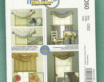 McCalls 6050 Home Decor Swags Roll Up Shades and Curtains to Sew at Home  UNCUT