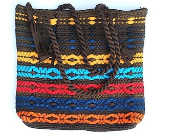 Tribal Purse, Vintage 1970's Handbag, Autumn, Fall, Back To School, Potholder Woven Purse, Geometric, For Her, Brown Bag