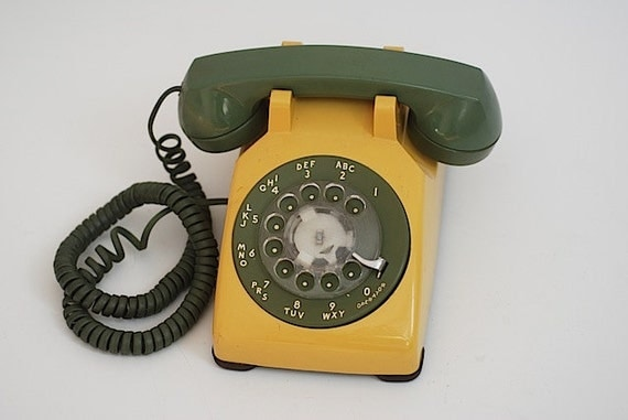 Vintage Custom Two Tone Rotary Dial Desk Phone, Prop For Photo Shoot, Custom Retro Phone, Yellow Mid Century, Home Decor, For Her, Christmas