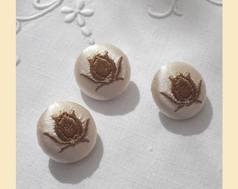 embroidered buttons handmade in ivory silk with bronze tulip design, size 22mm