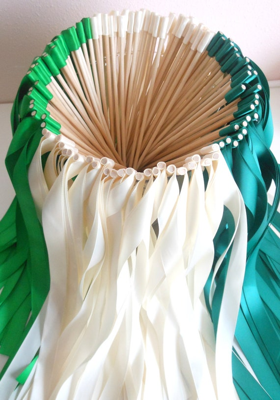 Wedding party ribbon wands set of 50 double ribbon wands for Wedding wands