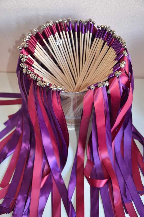 Wedding Ribbon Wands Send Off Set Of 75 Double Ribbon Wands