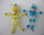Set of 2: Blue and Yellow Bead Hanging Ornaments