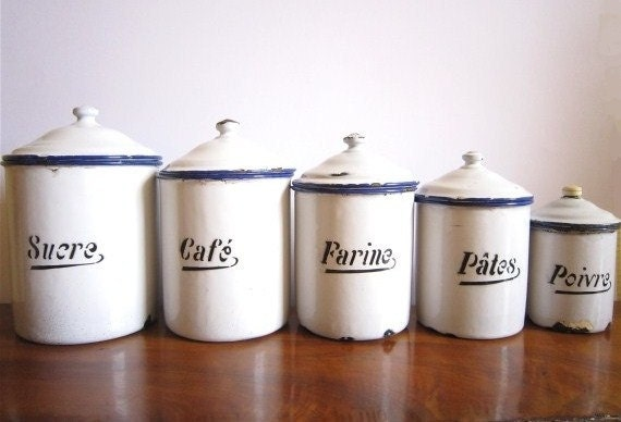 Vintage Canister Set French Canister French enamelware