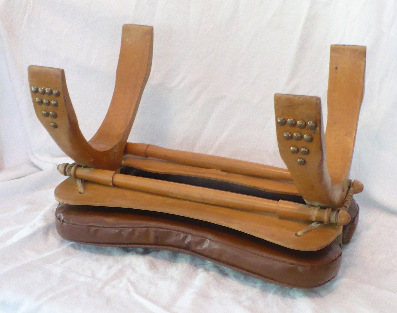Vtg Yugoslavia Camel Seat Saddle Stool Wood Leather Brass
