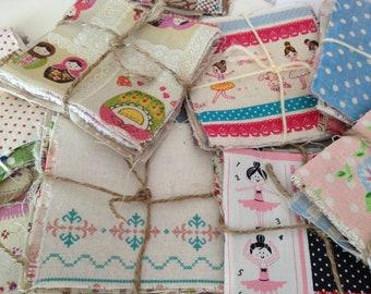 50% Off>>>A Bundle Pack of Kawaii Cotton Linen Fabric Scrap (20 pcs)