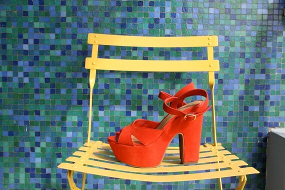Red Suede 5.5 inch Platforms Size 8.5
