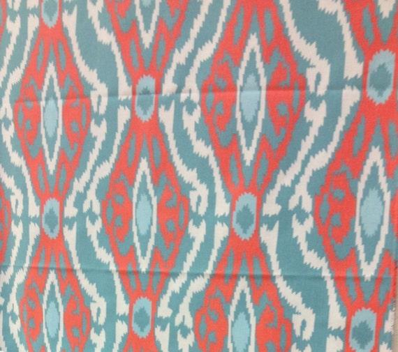 premier prints sherpa coastal macon turquoise coral ikat