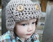 Baby Boy Aviator Hat, Crochet Earflap Hat, Baby Boy Crochet Hat, Toddler Boy Crochet Hat, Crochet Beanie