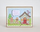 Christmas Card, Greeting Card, Holiday Greetings, Gingerbread Men, Sweet Christmas, Single Card