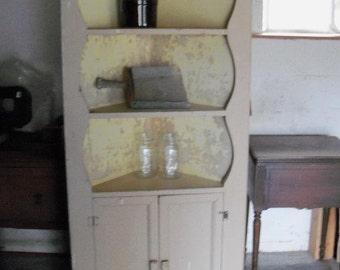 Corner Cupboard Poor Man's Cabin Size Primitive Americana Treasure