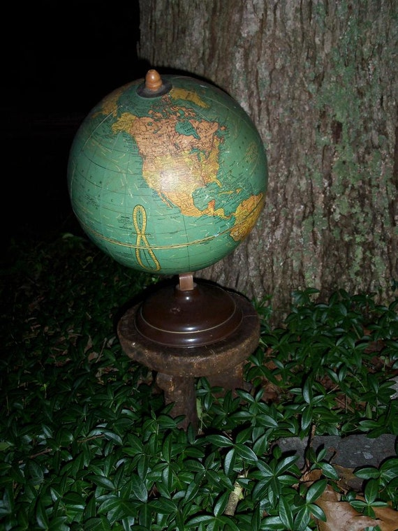 Globe Student Desk Size Midcentury Wood Axis Worldly Decor Library Accent Shelf Candy