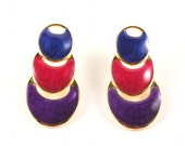 Geometric Earrings Art Deco Nesting Enamel Costume Jewelry Hot Pink Royal Purple / Vintage 80s