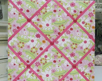 "Cute Frogs and Flowers on Pink Fabric Covered Memo Board- 14""x14"""