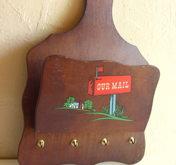 SALE Curvy Vintage Wall Hanging Mail Holder and Key Rack for Our Mail