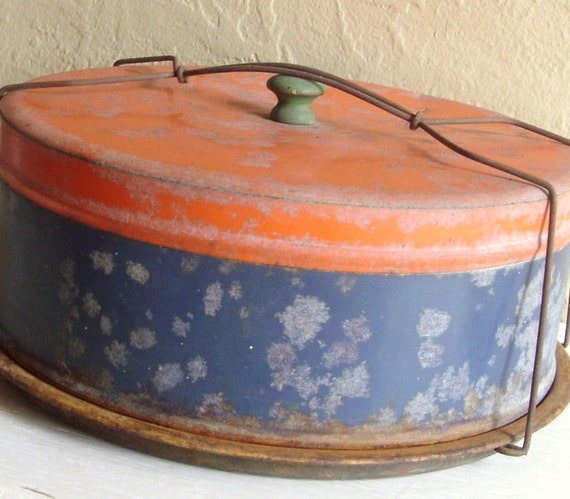 Decorative Old Blue and Orange Metal Cake Carrier with Green Wooden Handle SALE PRICE