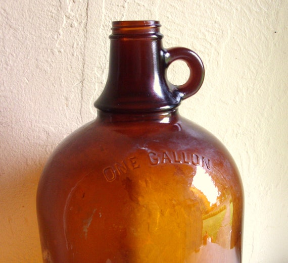 Large Duraglas Brown Amber Glass Bottle Jug With Handle 1 One