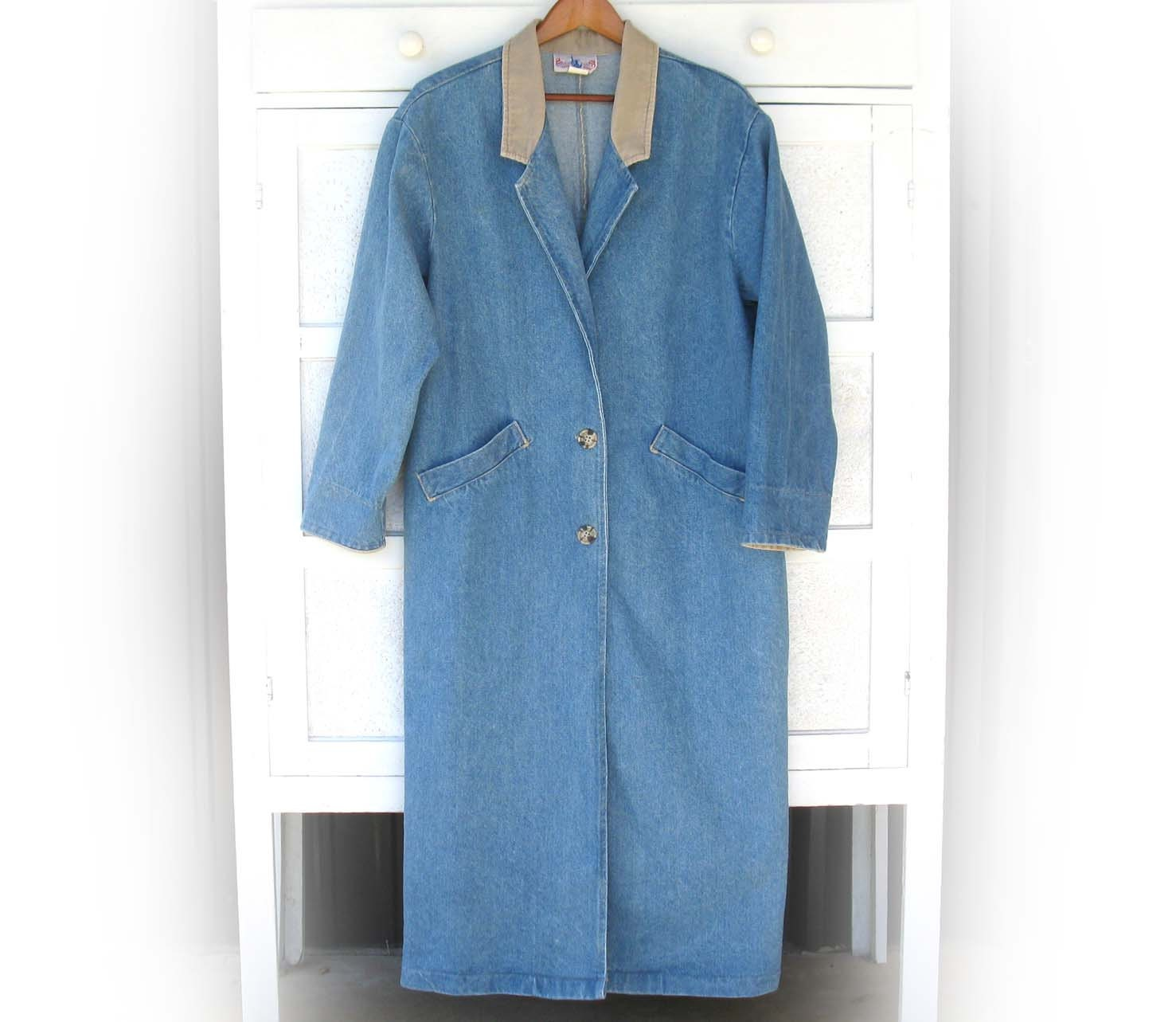 Women s long western faded blue denim duster coat by ellumbranch