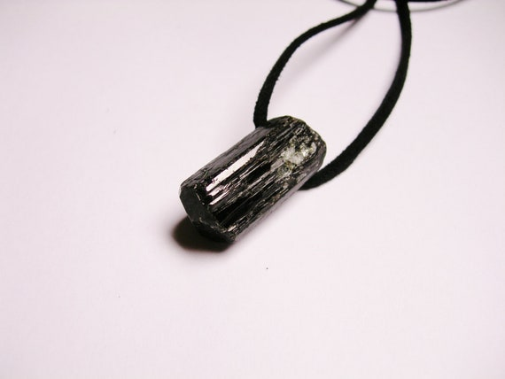 Natural Genuine Black Tourmaline rough  gemstone pendant  with Suede cord necklace