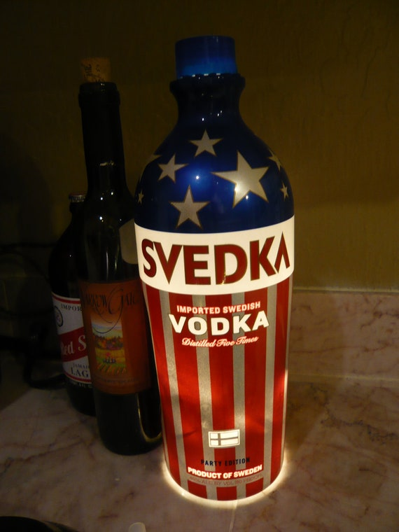 Up-Cycled American Flag Vodka Bottle Lamp