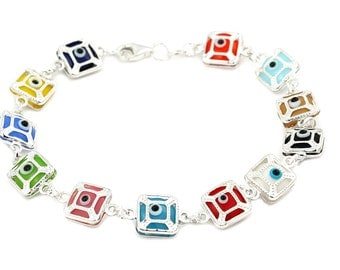 Free Domestic Shipping Sterling Silver Multicolor Square Evil Eye Bracelet Colorful, Evil, Eye, Protection, Modern, Contemporary, Unique