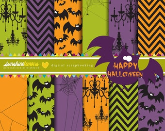 Happy Halloween Digital Scrapbooking Paper Set