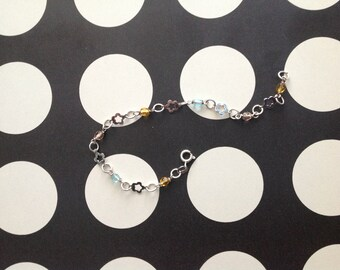 Sterling Silver Chain Bracelet with Flowers and Colored Beads