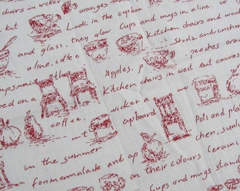 LF121 - Linen Cotton Blended Fabric - Cup chair and letter - red  - 1/2  yard