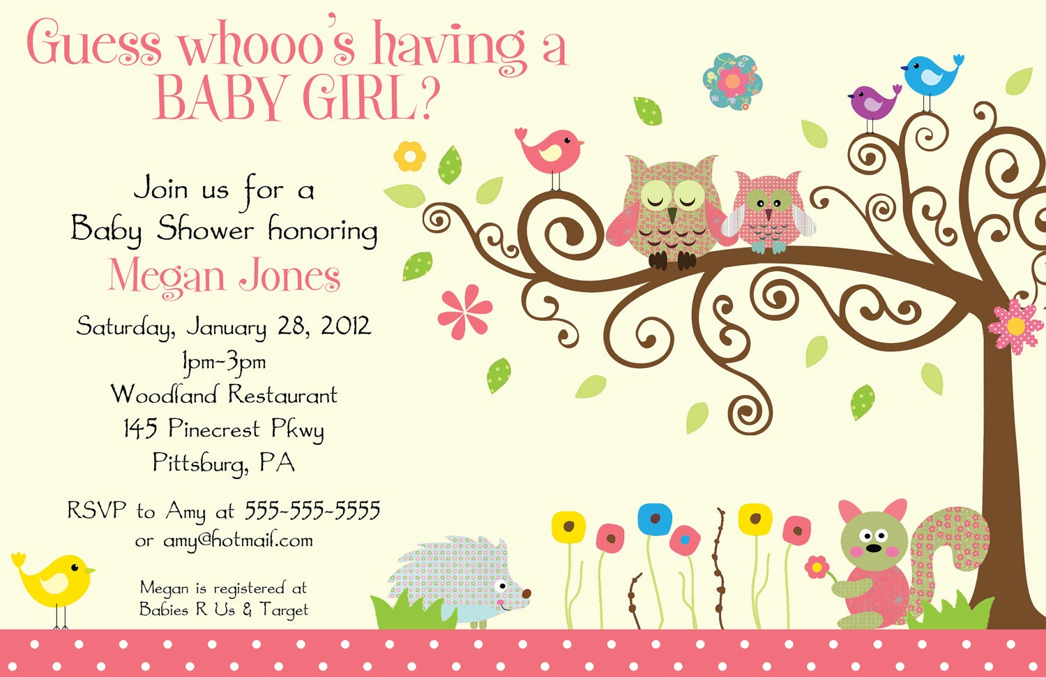 24 printed whimsey owl whimsical girl baby shower by bdesigns4you