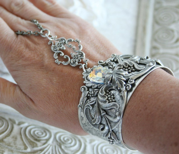 THE CRYSTAL GARDEN Victorian ornate fantasy cuff slave bracelet in aged silver with Swarovski crystal