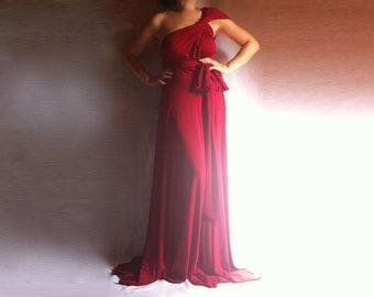 Convertible Red Maxi Dress / Convertible Infinity Multi Way Bridesmaid Dress/ Wrap Long Dress