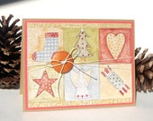 Handmade Christmas Card - Patchwork Quilt - Free US Shipping