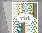 Moroccan and Wood Note Cards - Teal Olive Green and Grey - Personalized Note Cards - Flat or Folded - Design: Kimberly