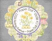 Return Address Labels - Set of 45 Scalloped Round in a Tin - Daffodils