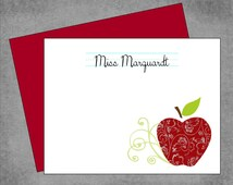 Teacher Note Cards - Burgundy Damask Apple with Swirls - Personalized Custom Note Cards with Envelopes - Flat or Folded - Marquardt*