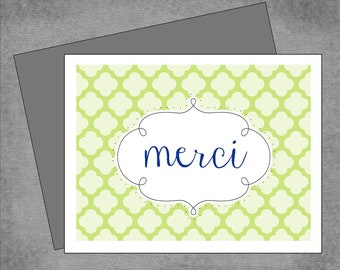 Moroccan Merci Note Cards - Lime Green, Navy and Gray - Personalized Note Cards - Flat or Folded - 4.25x5.5 inches