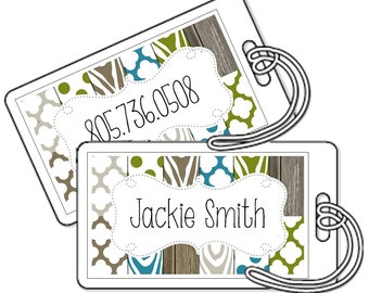 Set of 2 Personalized Bag Tags Laminated - Modern