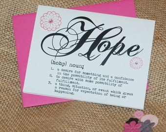 Greeting Card - Definition of Hope - with Rhinestones