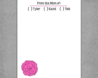 "Elegant ""From the Mom of"" Notepad with Pink Rose - Personalized Custom Notepads - Customized Hostess or Teacher Gift - Tyler."